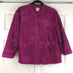 Chico's silk shantung embellished jacket sequins 3